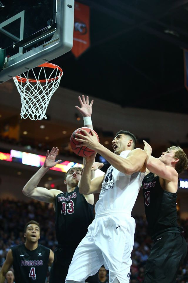 BYU's Corbin Kaufusi, BYU vs. Santa Clara, WCC Tournament, Las Vegas, Nev., Mar. 5, 2016. | Photo by BYU Photo