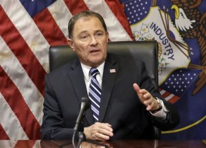 FILE -Utah Gov. Gary Herbert speaks with reporters during a news conference at the Utah State Capitol, in Salt Lake City. The governor signed a bill Monday, March 28, 2016, that makes Utah the first state to require doctors to give anesthesia to women having an abortion at 20 weeks of pregnancy or later. The bill signed by Republican Gov. Herbert is based on the disputed premise that a fetus can feel pain at that point. Salt Lake City, Utah, Feb 17, 2016 | Photo by Rick Bowmer, Associated Press, St. George News