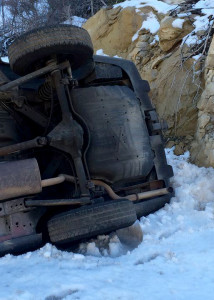 A Las Vegas man visiting Cedar City rolled his 2004 Jeep Cherokee coming down Cedar Mountain Wednesday, state Route 14, Iron County, Utah, March 9, 2016 | Photo by Carin Miller, St. George News