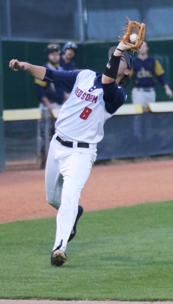 Dixie State's Hayes Hall (8), Dixie State University vs.  California Baptist University, Baseball,  St George, Utah, Mar. 4, 2016, | Photo by Kevin Luthy, St. George News