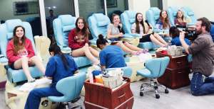Krystle Payne, Virginia Hill, Annie Huntsman, Madison Garriott, Grace Lund, and Sophia King experiencing karaoke pedicures at St. George Nail Salon, Le Couture, March 11, 2016 | Photo by Ali Hill, St. George News