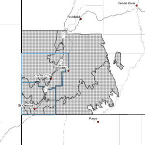 Shaded area indicates areas covered by the wind advisory issued by the National Weather Service in Salt Lake City, March 27, 2016 | Image courtesy of NWS, St. George News