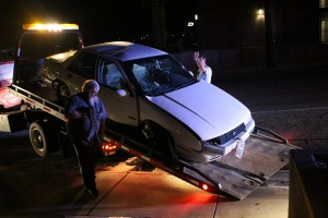 A woman was arrested for a suspected DUI following a single-car crash on 200 East just north of the St. George Boulevard intersection, St. George, Utah, March 21, 2016 | Photo by Mori Kessler, St. George News