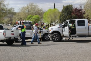 A woman was sent to the hospital following a two-vehicle collision at the intersection of 300 West and 400 North, St. George, Utah, March 22, 2016   Photo by Mori Kessler, St. George News