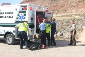 Emergency responders were sent to the Bear Claw Poppy Trail after a 15-year-old wrecked his bike in on the trail. the force of the wreck damages the boy's helmet and resulted in his being taken to the hospital for care, St. George, Utah, March 28, 2016 | Photo by Mori Kessler, St.