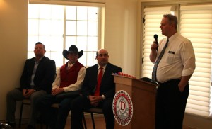(L-R) House District 75 candidates Steve Kemp, Slade Hughes and Walt Brooks, with Dixie Republican Forum host Larry Meyers, St. George, Utah, March 15, 2016   Photo by Mori Kessler, St. George News