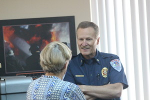 (L to R) Washington City Councilwoman Speaks with Fire Chief Brent Hafen prior to a meeting announcing Fire Capt. Matt Evans as Hafen's replacement , Washington City, Utah, March 11, 2016 | Photo By Mori Kessler, St. George News
