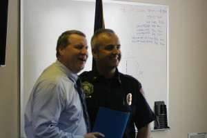 (L to R) Washington City Manager Roger Carter and Fire Capt. Matt Evans. Carter announced from members of the Washington City Fire Department at Fire Station 61 that Evans would be succeeding retiring Fire Chief Brent Hafen, Washington City, Utah, March 11, 2016 | Photo By Mori Kessler, St. George News