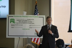 Republican gubernatorial candidate Jonathan Johnson took a pledge not to raise taxes in Utah if elected governor, St. George, Utah, March 15, 2016   Photo by Mori Kessler, St. George News