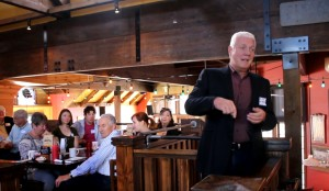 Mike Weinholtz, Democratic gubernatorial candidate, speaking at a breakfast gathering of the Washington County Democratic Party at George's Corner, St. George, Utah, March 16, 2016 | Photo by Mori Kessler, St. George News