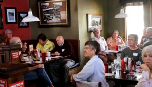 Members of the Washington County Democratic Party gathered at George's Corner to listen to Democratic gubernatorial candidate Mike Weinholtz, St. George, Utah, March 16, 2016 | Photo by Mori Kessler, St. George News