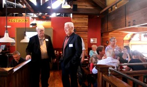 (L-R) Chuck Goode, Democratic contender for Utah House District 71, and Mike Weinholtz, Democratic gubernatorial candidate, at a breakfast gathering of the Washington County Democratic Party at George's Corner, St. George, Utah, March 16, 2016 | Photo by Mori Kessler, St. George News