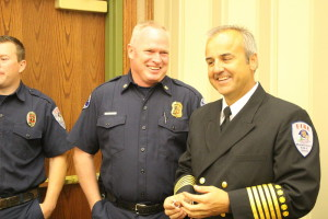 St. George Fire Chief (left) and new Washington City Fire Chief Matt Evans (right). Evans was sworn in as the new chief, replacing retiring fire chief, Brent Hafen, Washington City, Utah, March 28, 2015 | Photo by St. George News