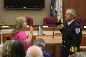 Matt Evans is sworn in as Washington City's new fire chief. He replacing retiring Fire Chief Brent Hafen, Washington City, Utah, March 28, 2015 | Photo by St. George News