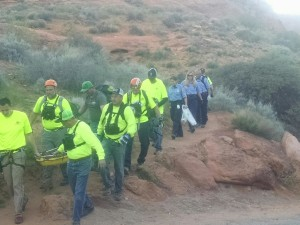 Rescuers carry out a 16-year-old girl after she fell and injured her leg Tuesday evening, Leeds, Utah, March 15, 2016 | Photo courtesy of Darrell Cashin, St. George News