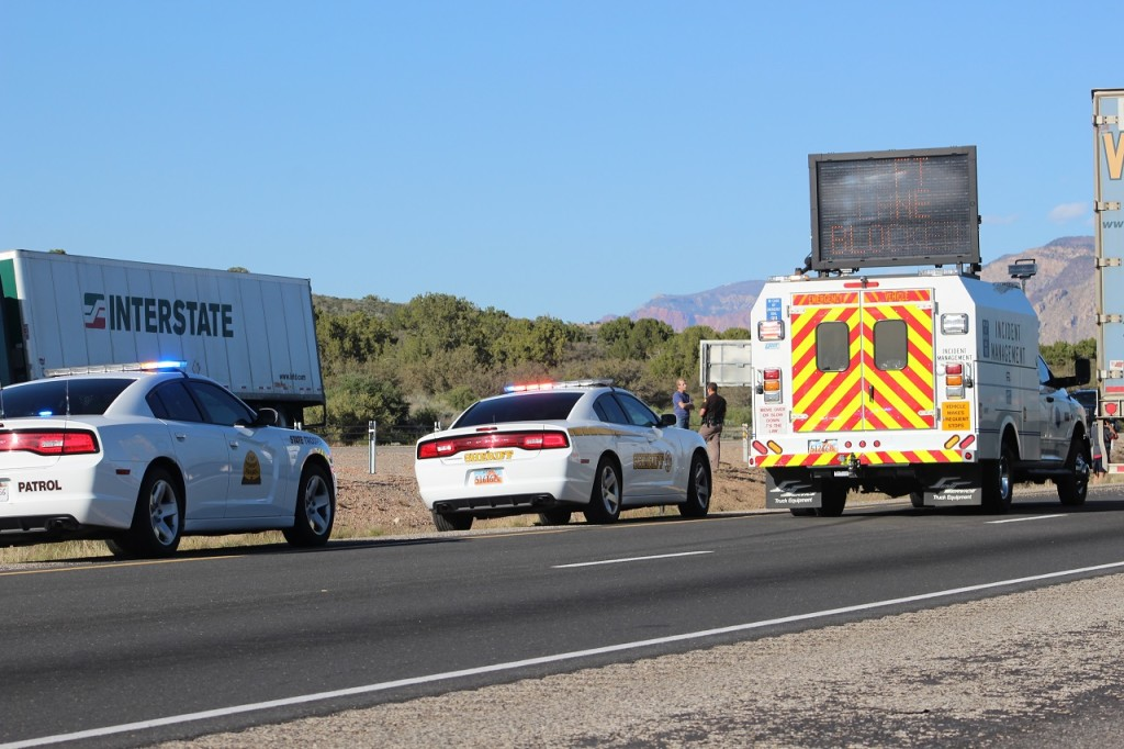 Utah Highway Patrol And Utah Department of Transportation's Incident Management Team responding to rollover on I-15, Leeds, Utah, Mar. 24, 2016 |Photo by Cody Blowers, St. George News