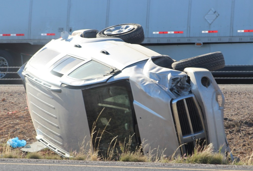 Frontal damage to Silver Dodge Durango in center median of Interstate 15 near exit 25, Leeds, Utah, Mar. 24, 2016|Photo by Cody Blowers, St. George News