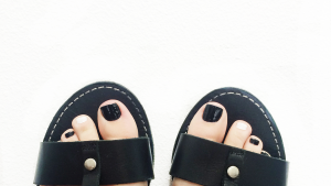 Black and white pedicure at local St. George nail salon, Le Couture, March 11, 2016   Photo by Ali Hill, St. George News