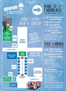 """This image features a map of """"George, Streetfest on Main"""" activity location and times. Location and date not specified 