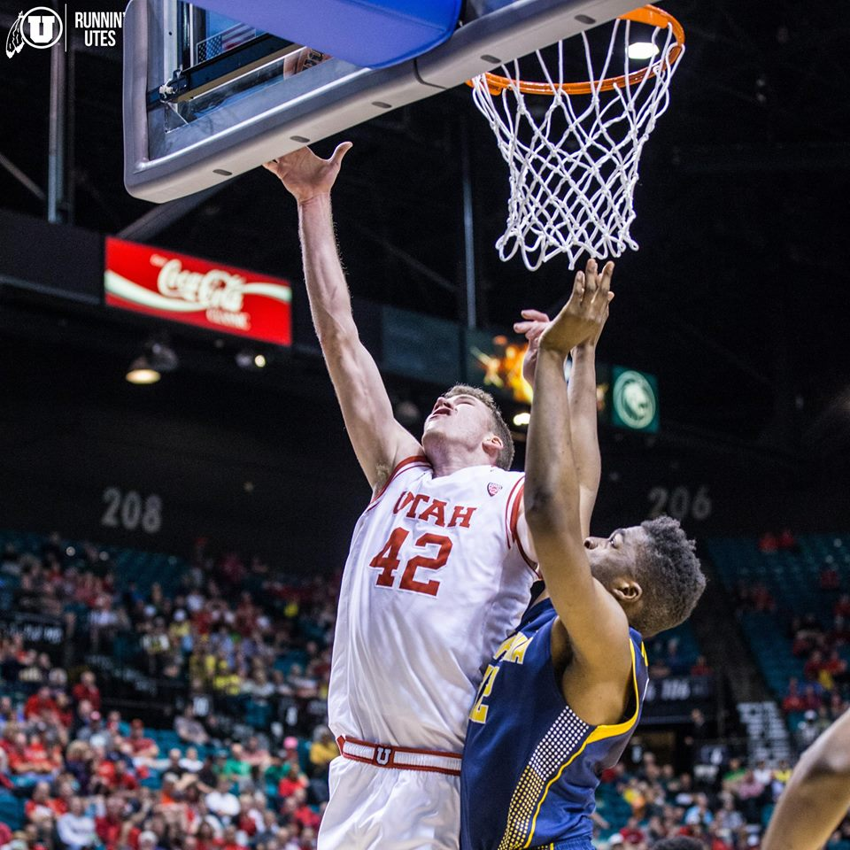 Jakob Poeltl, Utah vs. Cal, Pac-12 Tournament, Las Vegas, Nev., Mar. 11, 2015 | Photo courtesy Utah Athletics