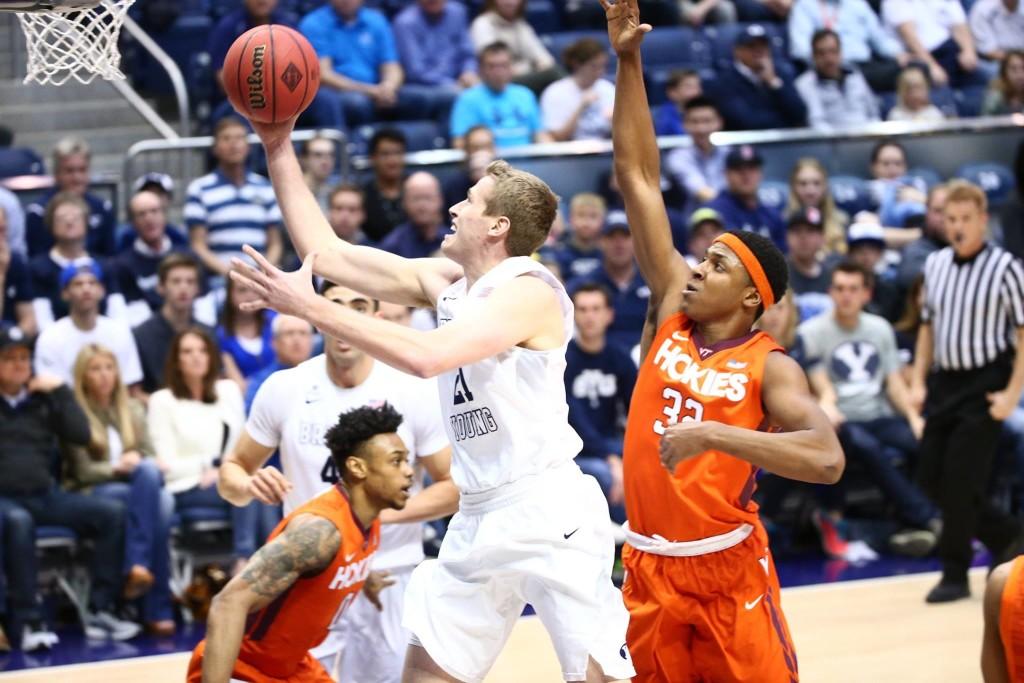 Kyle Davis, BYU vs. Virginia Tech, NIT Basketball, Provo, Utah, Mar. 18, 2016.   Photo by BYU Photo