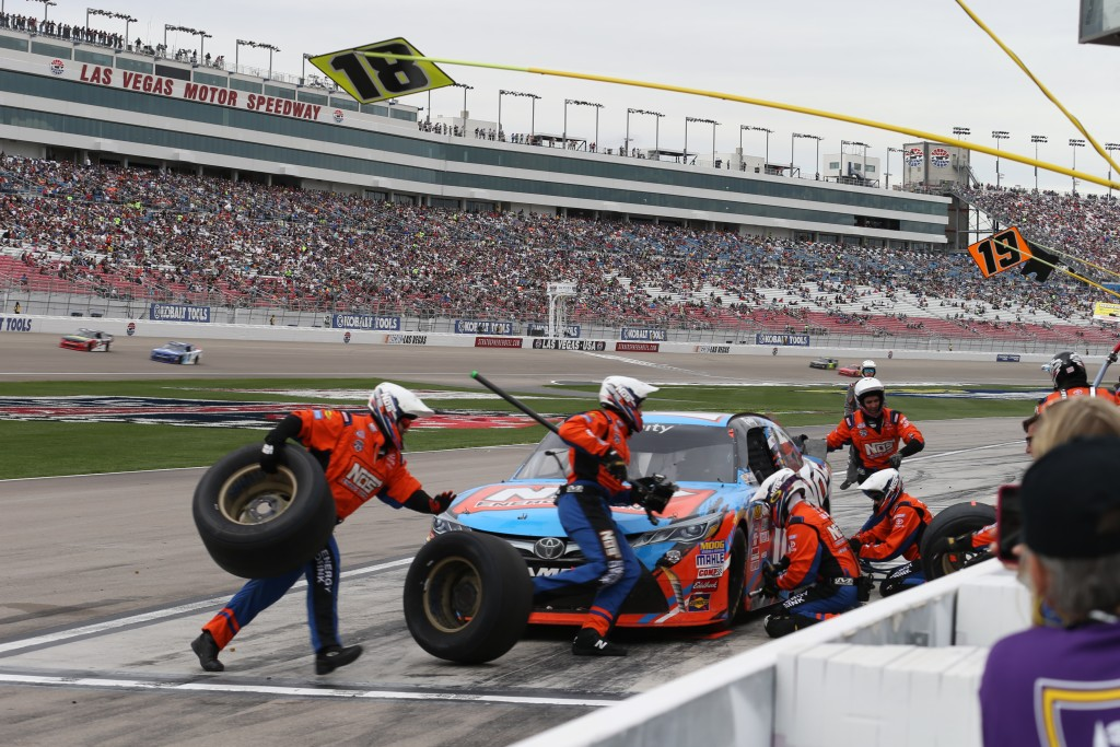 """""""(It was) teamwork that won the race, four tires and 20 gallons of fuel in under 12 seconds,"""" said Kyle Busch, winner of the Las Vegas XFINITY race Saturday, Las Vegas, Nev., Mar. 5, 2016 