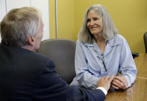 Former Charles Manson follower Leslie Van Houten confers with her attorney Rich Pfeiffer during a break from her hearing before the California Board of Parole Hearings at the California Institution for Women in Chino, Calif., Thursday, April 14, 2016. A California panel recommended parole Thursday for former Charles Manson follower Leslie Van Houten more than four decades after she and other cult members went to prison for the notorious killings of a wealthy grocer and his wife. (AP Photo/Nick Ut)