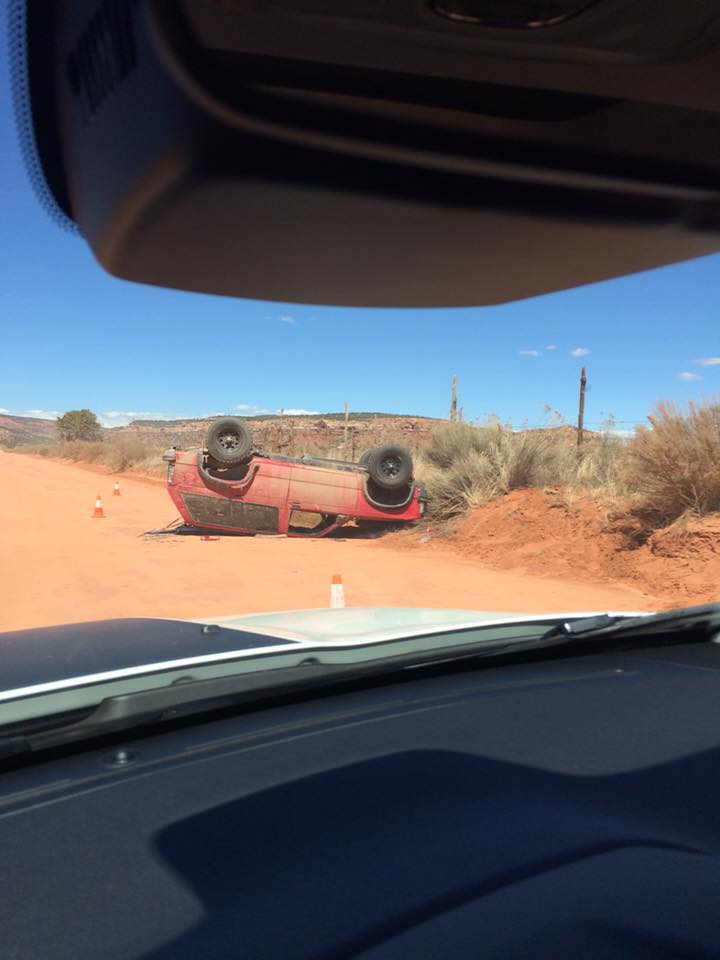 Rollover on Rosy Canyon Road just west of Cane Beds Road in Fredonia, Arizona, April 3, 2016 | Photo courtesy of Jeremy Holm via Facebook, St. George News