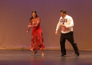 "Camille Bahoravitch of Westside Studio helps Ben Shakespeare of Shakespeare Development Group and Pride Point Construction do the quick step to the big win in their final number with Shakespeare wearing a shirt urging all to ""Vote 4 Ben!"" ""Dancing with your Community Stars"" benefit show for the Washington County Children's Justice Center, Dixie High School auditorium, St. George, Utah, April 2, 2016 