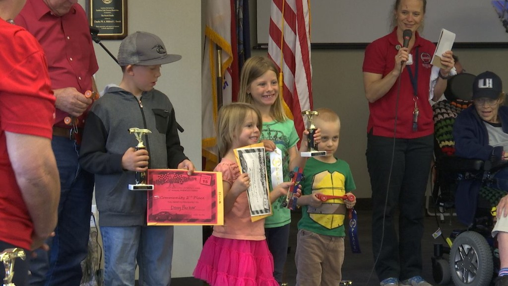 Race winners presented trophies and certificates at the Pinewood Derby Extravaganza, Southern Utah Veterans Home, Ivins, Utah, April 30, 2016|Photo by Austin Peck, St. George News