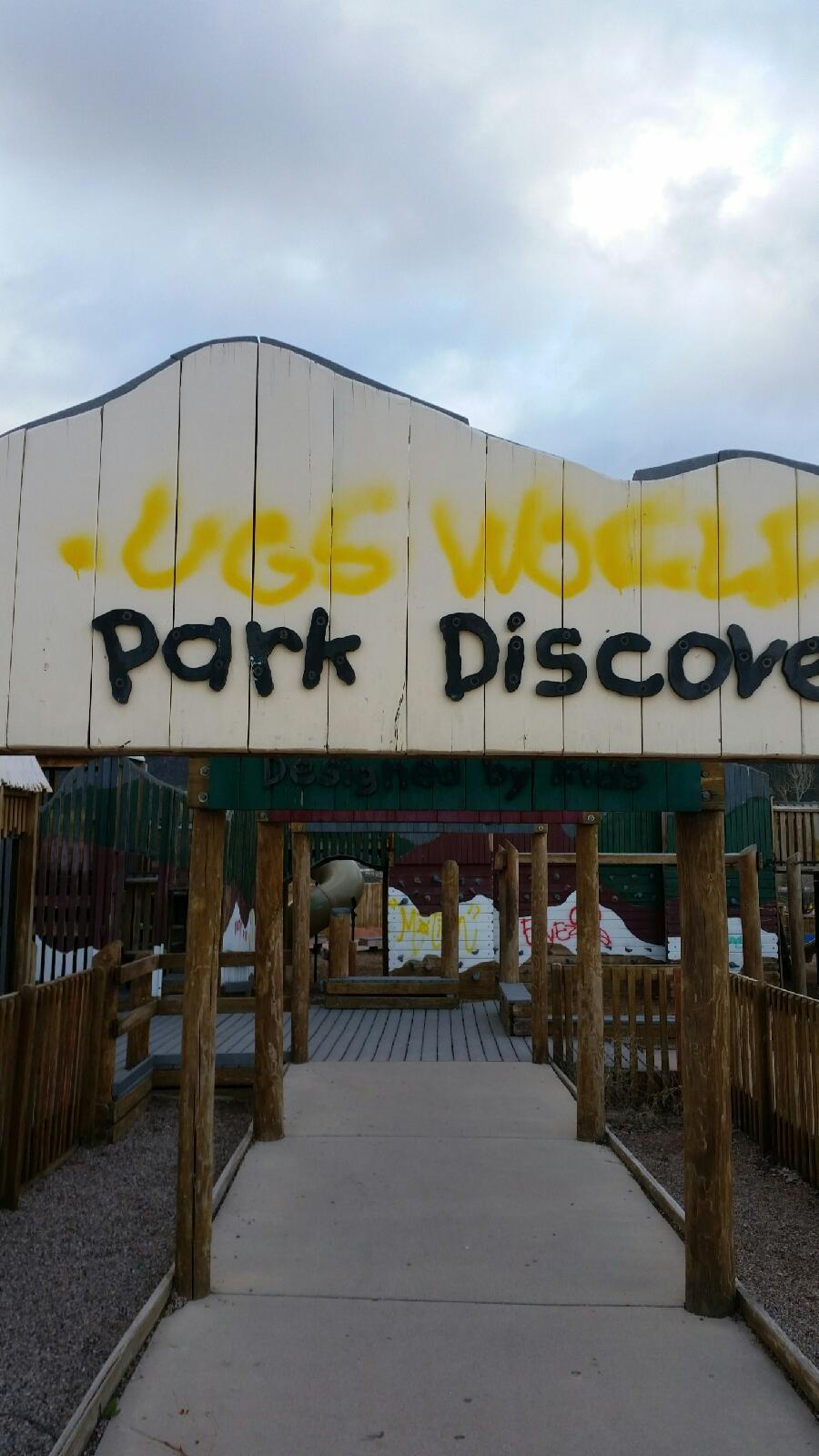 Vandalism at Park Discovery, Cedar City, Utah, April 16, 2016 | Photo by Liz Okeson with Cedar City Leisure Services, Cedar City News