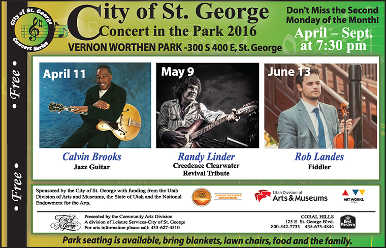 The City of St. George Concert in the Park Series kicks off the 2016 season with jazz guitarist Calvin Brooks | Image courtesy of City of St. George, St. George News