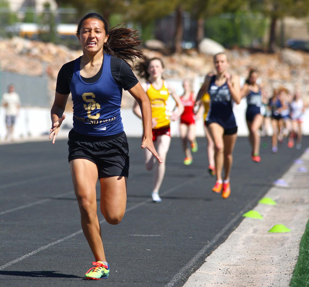 Snow Canyon's Arantxa Melendez runs the 800 meter finals, Pine View Invitational Track Meet, St. George, Utah, Apr. 2, 2016, | Photo by Robert Hoppie, ASPpix.com, St. George News