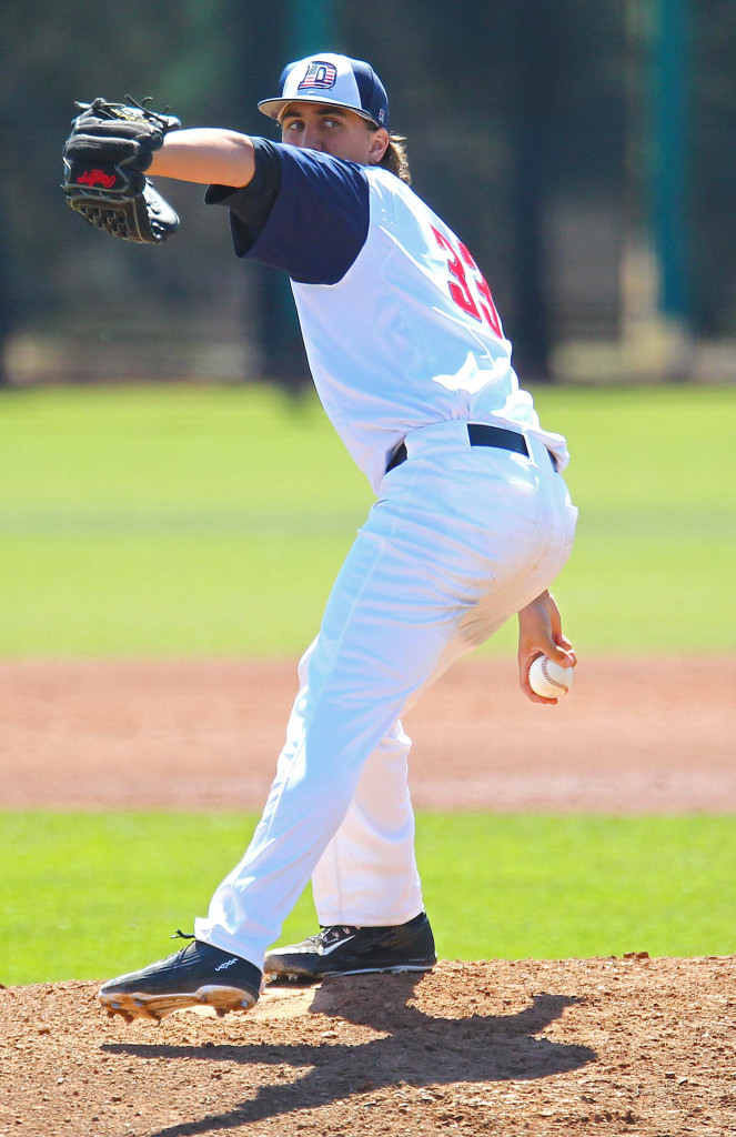 Dixie State's Dylan File (33), file photo from Dixie State University vs. Fresno Pacific University, Baseball, St. George, Utah, Apr. 2, 2016, | Photo by Robert Hoppie, ASPpix.com, St. George News