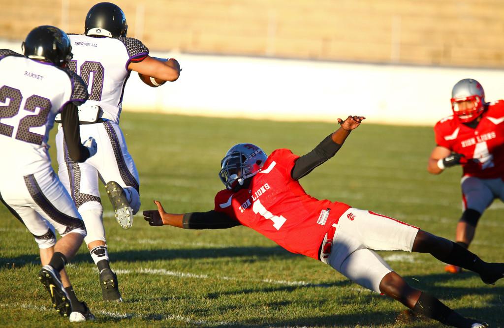 Zion Lions' Josh Ford (1), Zion Lions vs. Brigham Sting, Football, St. George, Utah, Apr. 2, 2016,   Photo by Robert Hoppie, ASPpix.com, St. George News