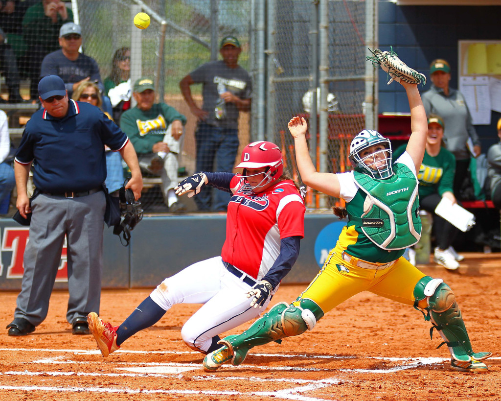 Dixie State's Brooklyn Beardshear (11) slides into home safely as the throw to the catcher is high, Dixie State University vs. Concordia University, Softball, St. George, Utah, Apr. 30, 2016, | Photo by Robert Hoppie, ASPpix.com, St. George News