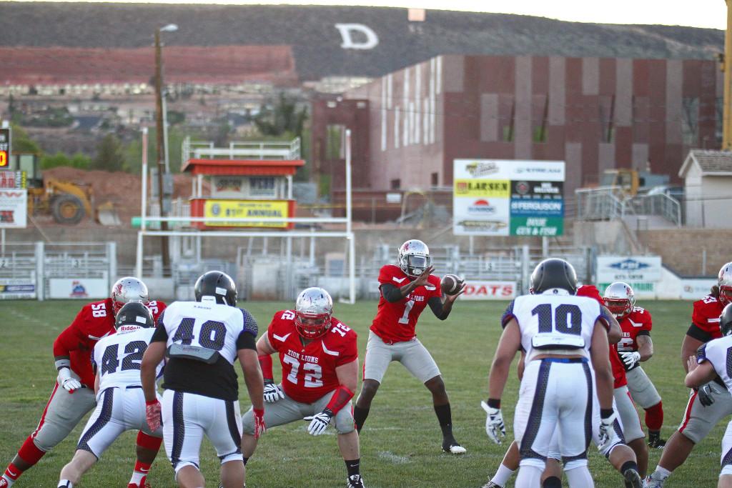 Lions QB Josh Ford (1), Zion Lions vs. Brigham Sting, Football, St. George, Utah, Apr. 2, 2016,   Photo by Robert Hoppie, ASPpix.com, St. George News