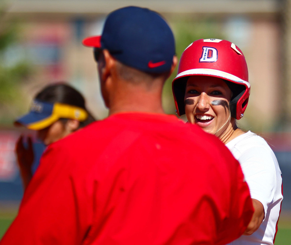 Dixie State's Autumn Woodfall (00), Dixie State University vs. California Baptist University, Softball, St. George, Utah, Apr. 11, 2016, | Photo by Robert Hoppie, ASPpix.com, St. George News