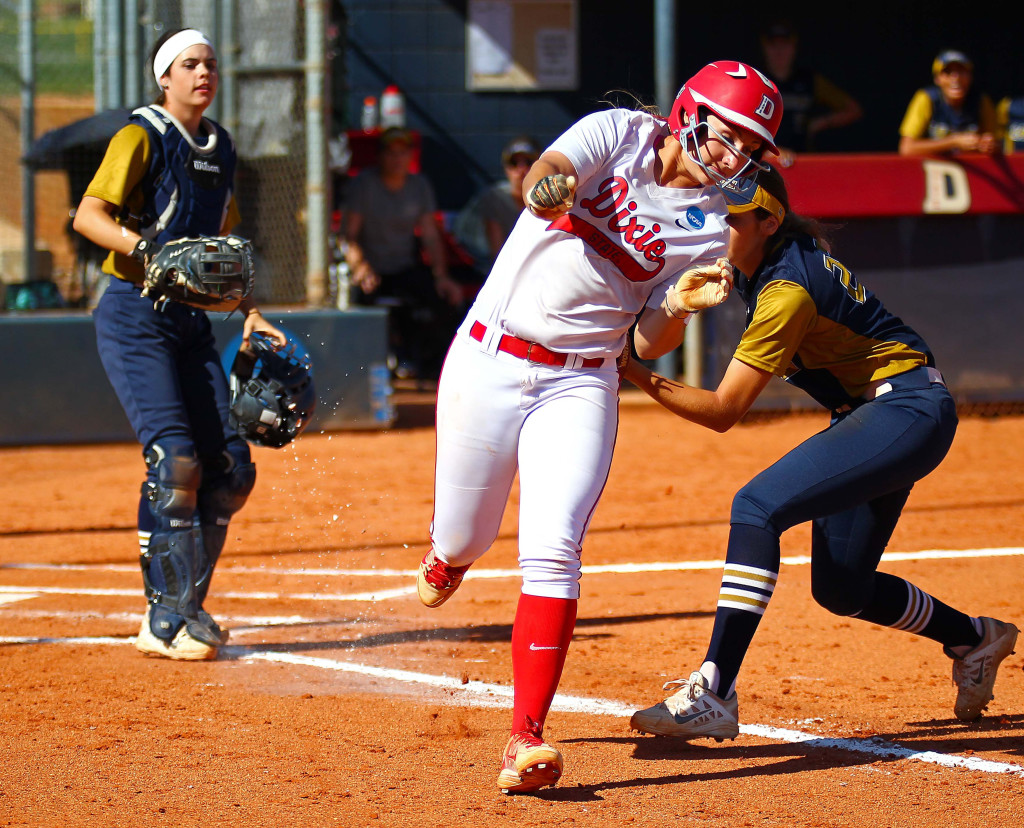 Dixie State's Mallory Paulson (24) is tagged out, Dixie State University vs. California Baptist University, Softball, St. George, Utah, Apr. 11, 2016,   Photo by Robert Hoppie, ASPpix.com, St. George News