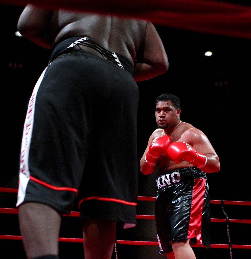 Pano Tiatia (red, black and blue trunks) vs. John Orr Jr. (black and orange trunks), Victory Promotions Fight Night, Boxing, St. George, Utah, Apr. 30, 2016,   Photo by Robert Hoppie, ASPpix.com, St. George News