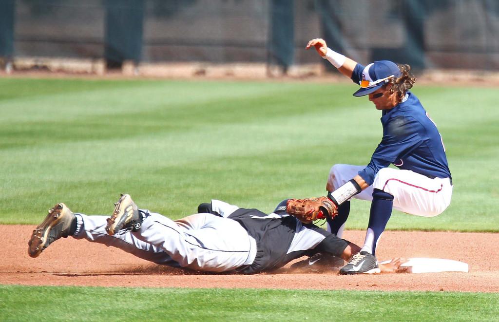 Dixie State's Drew McLaughlin (2), Dixie State University vs. Hawai'i Pacific University, Baseball, St. George, Utah, Apr. 22, 2016, | Photo by Robert Hoppie, ASPpix.com, St. George News