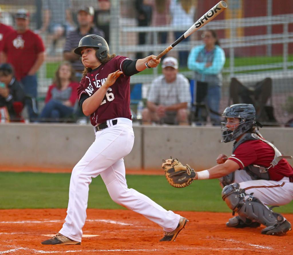 Pine View's Connor Clark (26) launches a two-run home run, Pine View vs. Cedar, Baseball, St. George, Utah, Apr. 22, 2016, | Photo by Robert Hoppie, ASPpix.com, St. George News