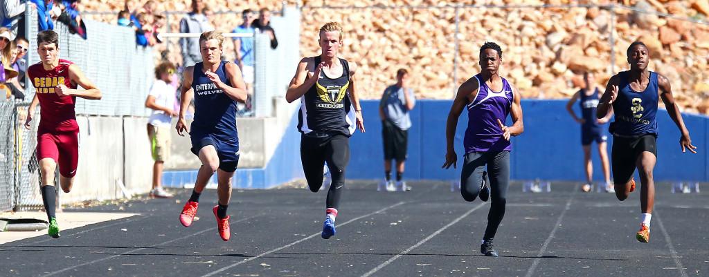 Boys 100 meter dash, Dixie Invitational, Track and Field, St. George, Utah, Apr. 23, 2016,   Photo by Robert Hoppie, ASPpix.com, St. George News