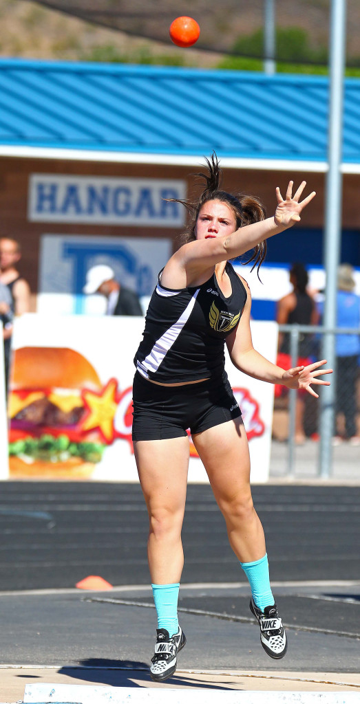 Desert Hills' Elly Williams wins the girls shot put,  Dixie Invitational, Track and Field, St. George, Utah, Apr. 23, 2016, | Photo by Robert Hoppie, ASPpix.com, St. George News