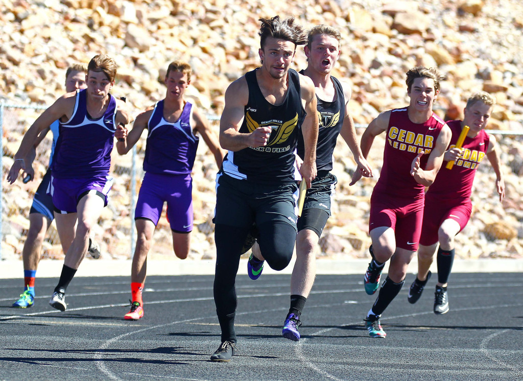 Desert Hills' Kyler Terry leads the pack in this file photo from the Dixie Invitational, St. George, Utah, Apr. 23, 2016, | Photo by Robert Hoppie, ASPpix.com, St. George News
