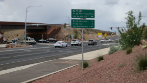 Sign for cyclists at the Snow Canyon Parkway northbound exit from Bluff Street. April 26, 2016   Photo by Tim Tabor, St. George News