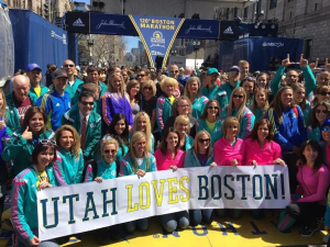 Runners representing Utah in the Boston Marathon gather at the site of the finish line to take a group photo, Boston, Massachusetts, April 17, 2016 | Photo courtesy of Walter Brown, St. George News