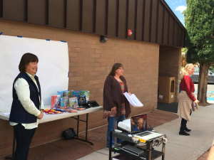 L-R Rockville Mayor Pam Leach, Joyce Hartless, Springdale Elementary principal Chris Snodgress present awards to students at Springdale Elementary, Springdale, Utah, April 29, 2016 | Photo by Hollie Reina, St. George News