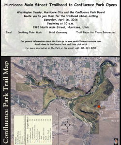 A flyer inviting the public to the ribbon cutting ceremony for the Hurricane Main Street Trailhead of Washington County's Confluence Park, location and date not specified | Flyer courtesy of Red Cliffs Desert Reserve, click image to enlarge