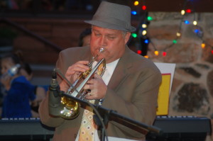"""West Coast Jazz Players deliver smooth jazz sounds in the jazz garden at """"George, Streetfest on Main,"""" St. George, Utah, April 1, 2016 